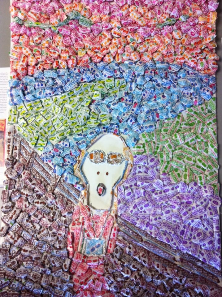 """Edvard Munch's """"The Scream,"""" made entirely out of #DumDums wrappers!"""
