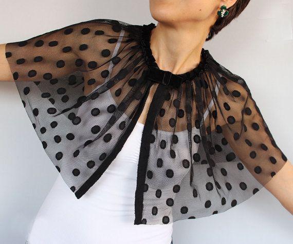 Black Polka Dot Tulle Capelet: Statement Wear Cape in Retro Style. Unique Design