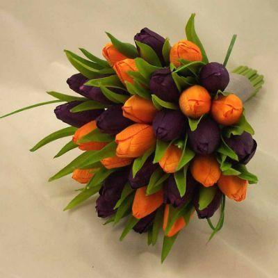 Purple & Orange Tulip Bridal Posy