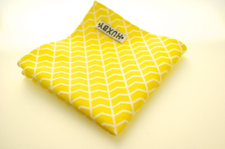 Yellow and white herringbone print pocket square made from linen fabric by Huxby Haberdashery
