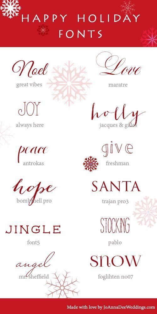 12 Holiday Fonts | JoAnna Dee Weddings #DIY #download #fonts