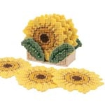 Craftways Sunflower Coasters with Holder Set/6 Plastic Canvas Kit