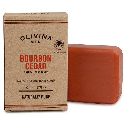 OLIVINA MEN Exfoliating Bar Soap - Bourbon Cedar<br><br>Easily wash away a hard day's work and give your pores a deep clean with our exfoliating bar soap. Kaolin clay and ground olive stone add some force to your cleansing. But don't worry, these natural ingredients only take what's necessary without over-drying. Not only is it good for your body, but this bar soap reduces environmental impact by using sustainable palm oil.<br><br>• Vegan<br>...
