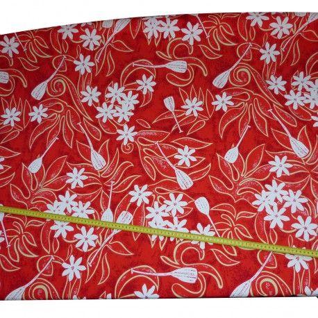 Tissu Rouge Tahitien Tiaré Pagaie