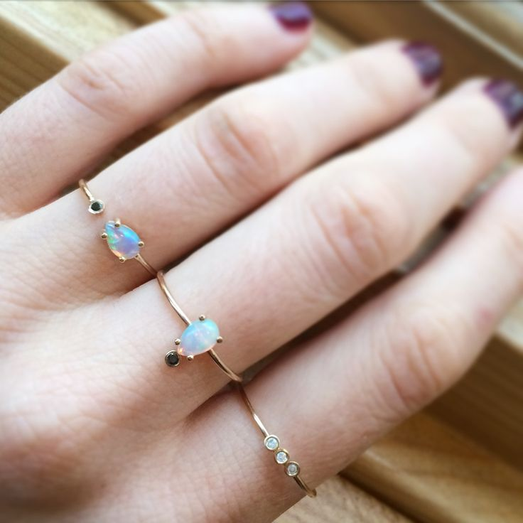 14kt Gold Opal and Black Diamond Amore Ring