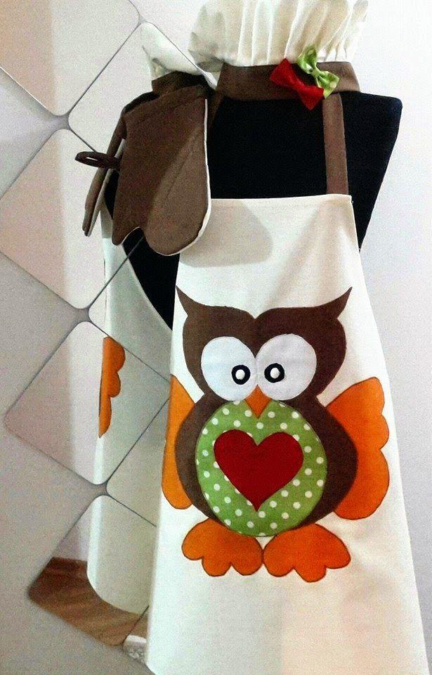 owl patterned apron, owl