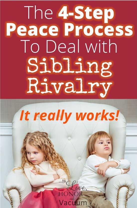 Hey, Moms: You CAN stop sibling rivalry and end sibling fights! Here's a 4-step peace process for your family that's easy to implement that actually works at calming heads--and hearts. #parenting