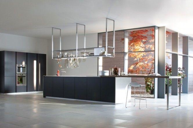 black white kitchen suspended pan rack