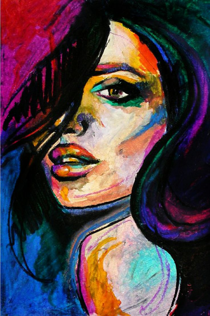 Colorful portrait of a woman for Tumblr painting art
