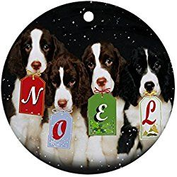 English Springer Spaniel Christmas Ornament Noel Round Holiday