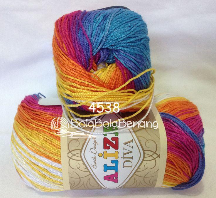 ALIZE DIVA BATIK 4538, Price: 90.000,-/gulung, Bahan: 100% Microfiber Akrilik, Berat/Panjang: 100gr/350m, Knitting Needles: 2,5mm – 3,5mm, Crochet Hook: 1mm - 3mm