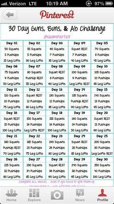 30-Day AB Challenge Printable | 30 Day Ab Challenge Calendar Printable