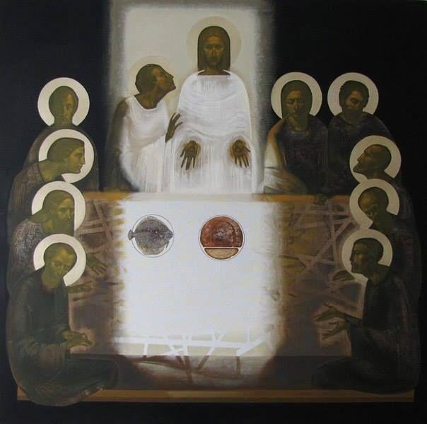 Artist Painting Modern Jesus Religious Montage