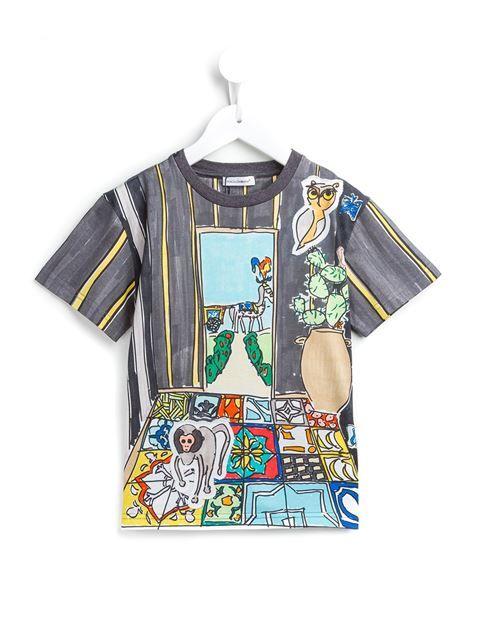 Dolce & Gabbana Kids painterly print T-shirt
