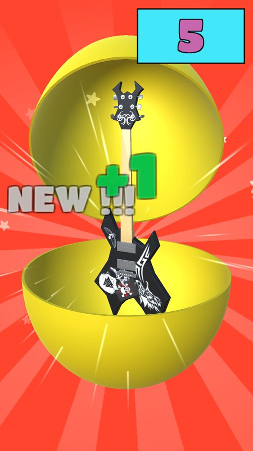 Inside every Surprise Egg is a toy, this time a NEW toy! A cool electric guitar! Time to play some awesome guitar riffs! Rock'n'roll! Rock and roll! Look at the cool details: Skull, Tribal Patterns, Lone Wolf, Wings! I feel so lucky!