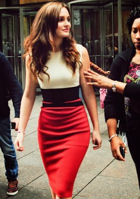 Stunning color block dress on Leighton Meester | Just a Pretty Style