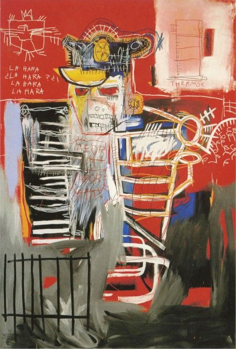 Jean-Michel Basquiat Retrospective @ Gagosian Gallery (New York) - La Hara, 1981 Acylic and oil paintstick on canvas (183 x 212,5 cm)