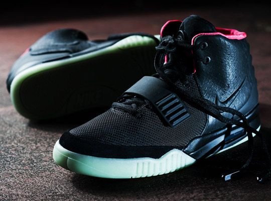 "Nike Air Yeezy 2 Black/Solar-Red.  ""June 9th is the official release date for both the Platinum and Black colorways of the much-anticipated Nike Air Yeezy 2""."