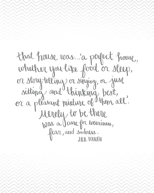 That House was a Perfect House - Tolkien Quote - Free Printable Hand Drawn Artwork from The Inspired Room