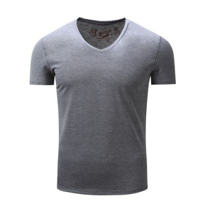 New Arrival Brand Men T-shirt Casual V-neck Short Sleeve Tees Solid Fashion Style Summer Tops Black White Wear 100% Cotton 005