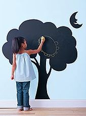 Chalkboard paint, PERFECT for a kids room or a playroom.  I love the tree design so much better then just a painted wall... This will spark creativity for sure! Can't Wait!