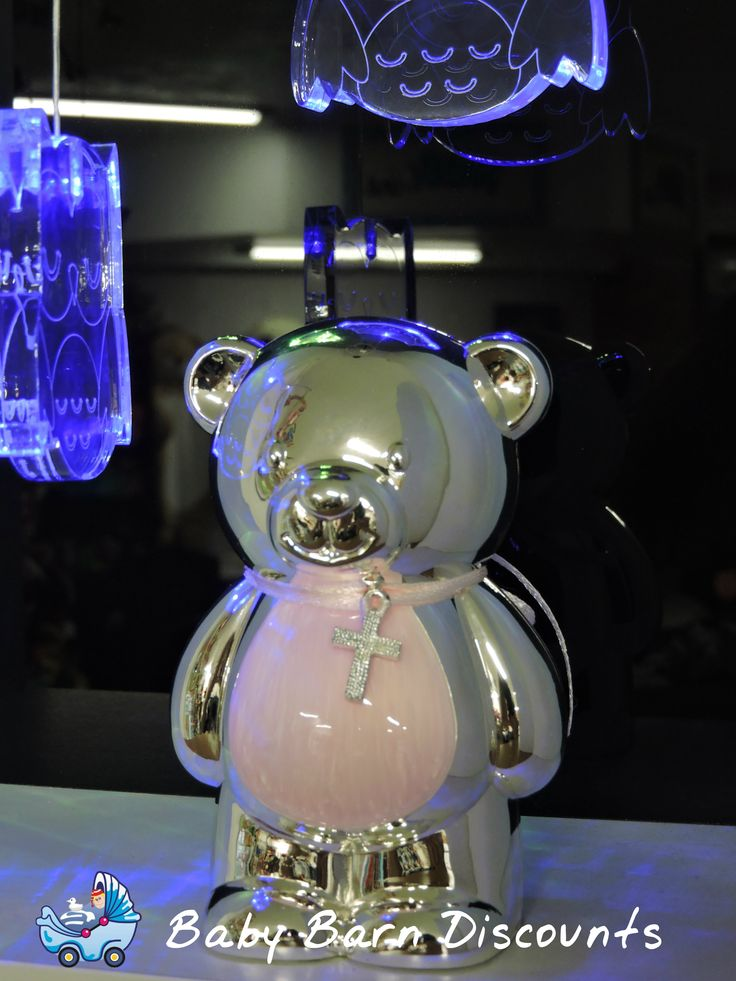 Beautiful silver plated moneybox in the shape of a teddy ideal Christening gift.