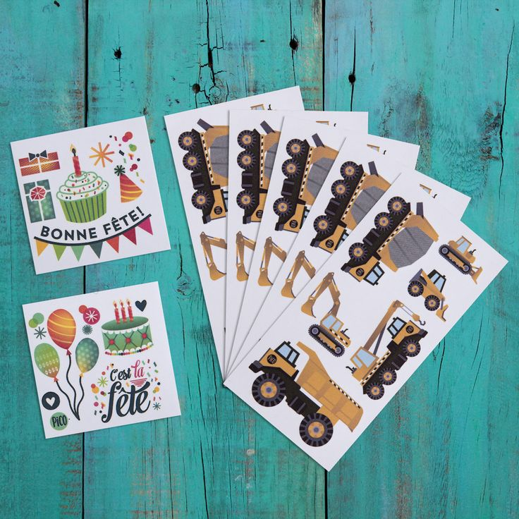 Birthday packages - The truck - Temporary tattoos - PiCO Surprises pour anniversaires - Les Camions - Tattoo - Tatouage temporaire - PiCO