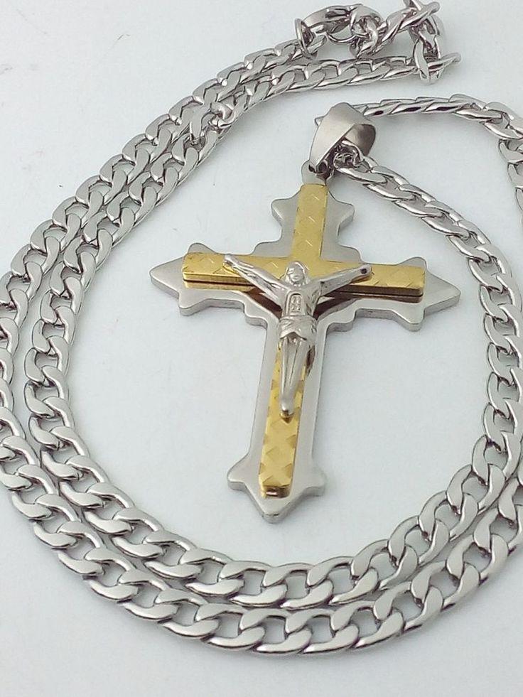 Collana Ciondolo Croce Con Cristo Oro Argento Uomo Donna Crocifisso Gioielli | eBay
