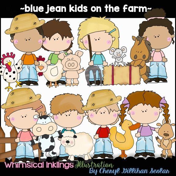 Blue Jean Kids On The Farm Clip Art Download