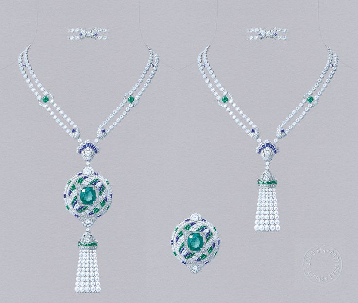 Van Cleef&Arpels Talisman Papillon necklace. White gold, round diamonds, square-cut, faceted and buff-topped baguette-cut sapphires, round, square-cut, faceted and buff-topped baguette-cut emeralds, white cultured pearls, one cushion-cut emerald of 16.52 carats (Colombia). Detachable clip and tassel.