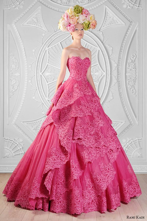 rami kadi couture spring 2014 collection strapless sweetheart neckline lace and tulle pink ball gown