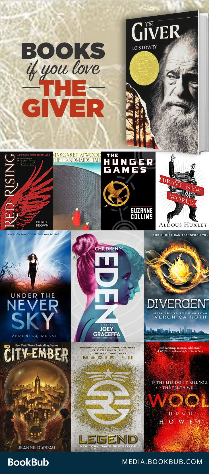 19 books to read if you love The Giver. These are great books for teens, both boys and girls, or fans of dystopian fiction. We couldn't leave The Hunger Games off this reading list!