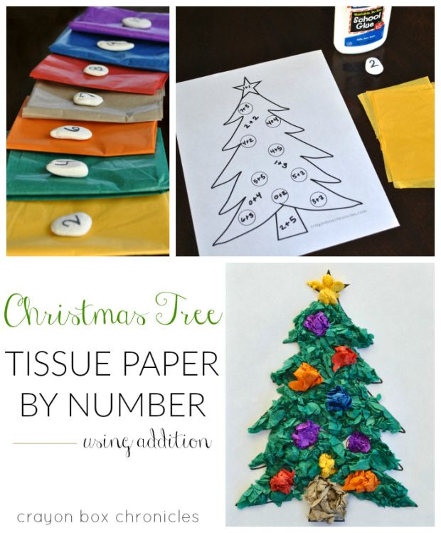 Christmas tree tissue paper by sum craft using addition and tissue paper for kids by Crayon Box Chronicles.