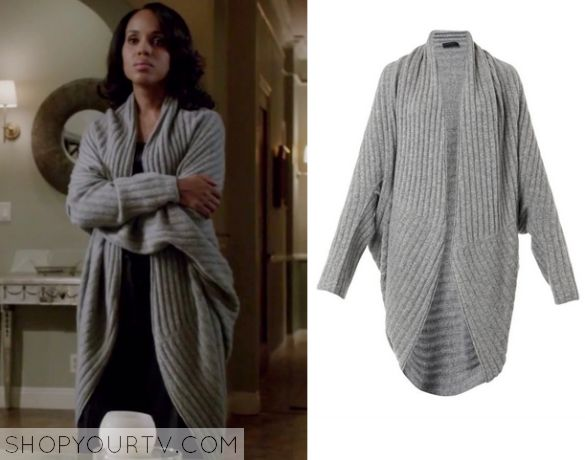 Olivia Pope (Kerry Washington) wears this grey ribbed wrap cardigan in this week's episode of Scandal. It is the The Row Ilia Ribbed Knit Cocoon Cardigan. Buy it HERE
