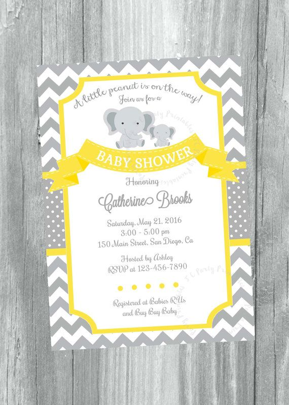 Grey and Yellow Chevron baby shower invitation. by JCpartyprint