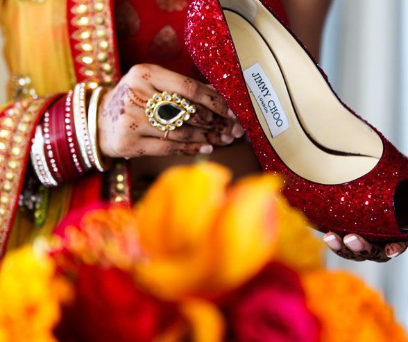 wedding shoes, Multicultural Wedding, Indian Wedding, Red and Orange, Henna, Real Wedding, Donna Newman Photography || Colin Cowie Weddings