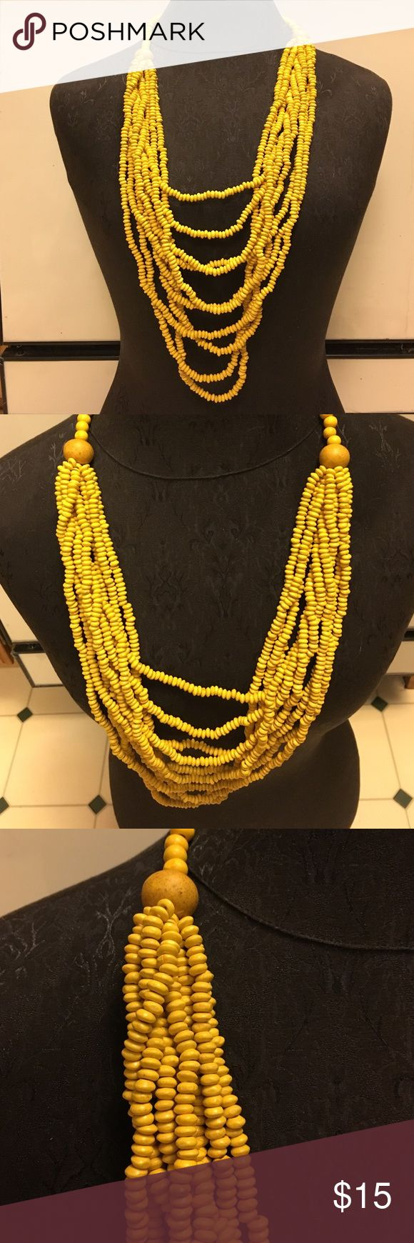 🎁Lovely Draping Yellow Wooden Bead Necklace Lovely draping yellow wooden bead necklace. Boutique Jewelry Necklaces