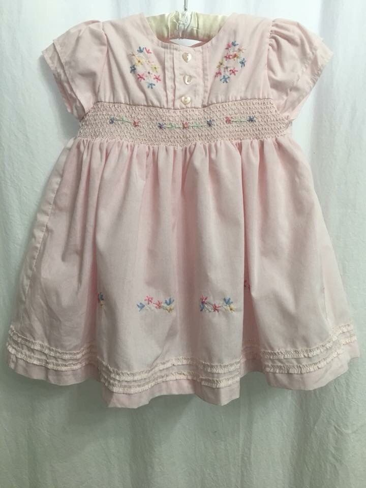 Chloe Louise Baby Girls Frilly Pink Smocked Embroidered Dress 9 12 Months Fashion Clothing Shoes Accessories Babyto Clothes Embroidered Dress Girl Outfits