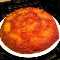Pineapple upside-down cake in cast iron skillet