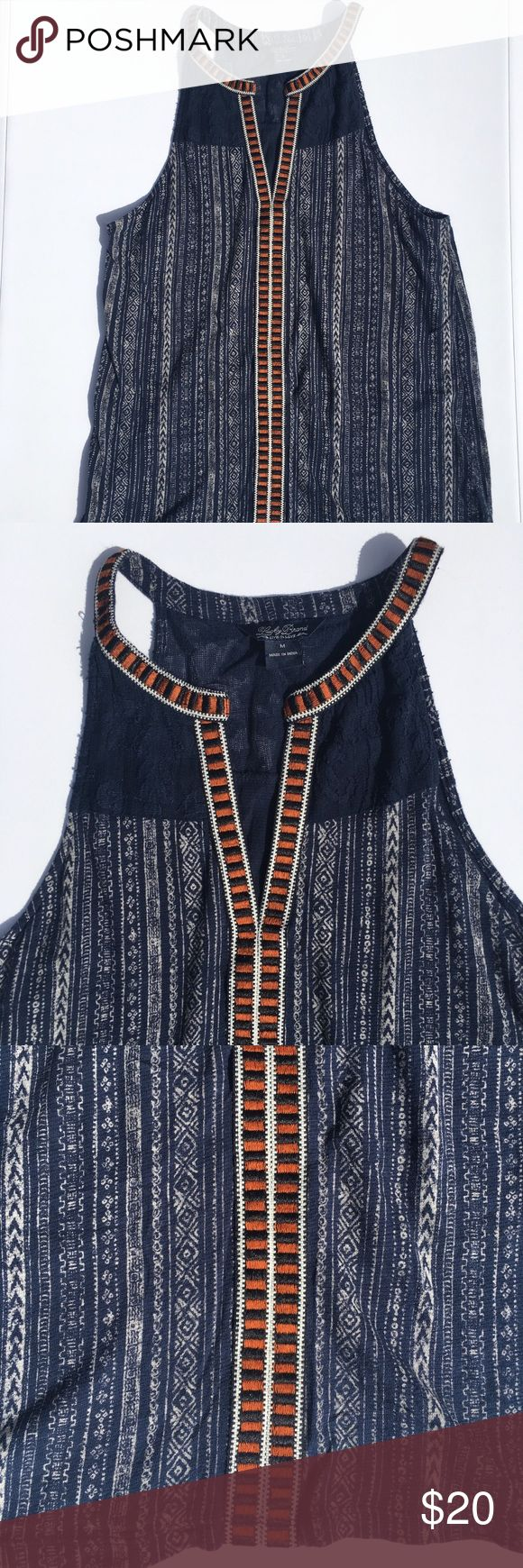 Lucky Brand top! Beautiful Lucky Brand top with boho design. Size M there are a few loose strings, but not noticeable when worn! Lucky Brand Tops Tank Tops