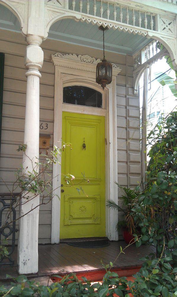 Blue ceiling, greige walls, white trim, chartreuse door