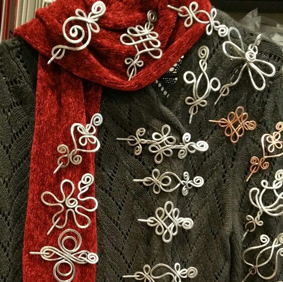 A bunch of our shawl pins on display.