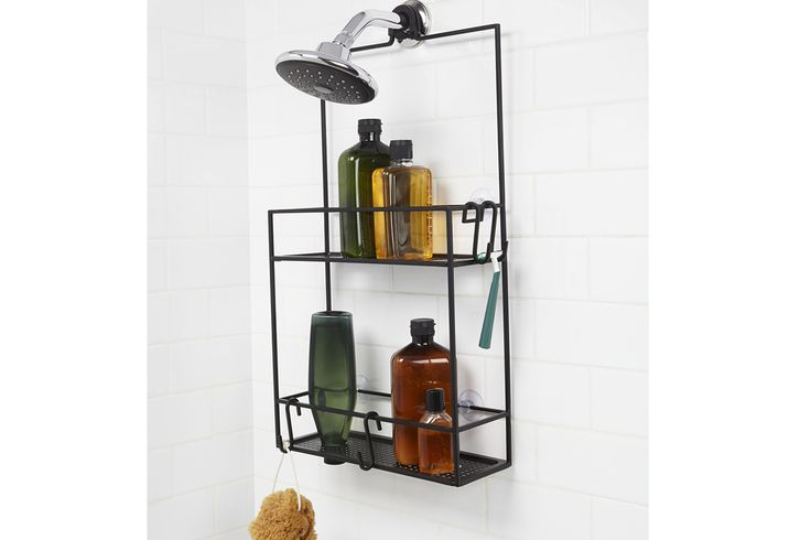 A stylish and useful storage caddy, designed to hang in the shower. A contemporary design with two shelves in black metal. Buy online.