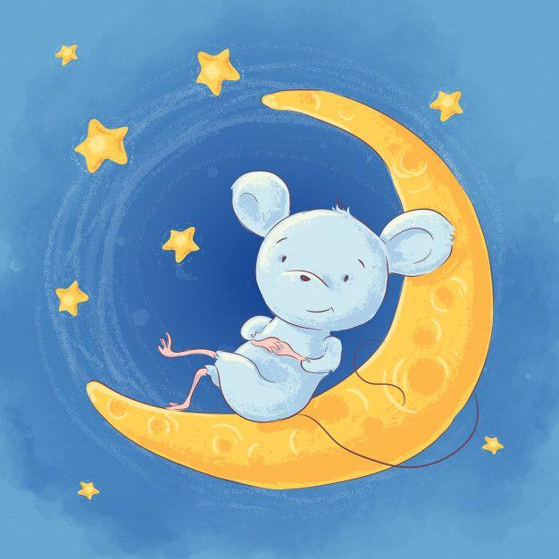 Illustration Of A Cute Cartoon Mouse On The Moon Night Sky And Stars | Card  illustration, Illustration, Cute cartoon