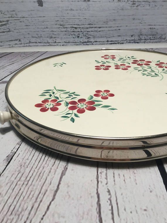 Vintage Lazy Susan . Rotating Serving Plate . Revolving