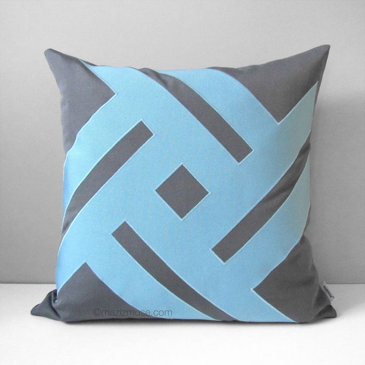 Mineral Blue Outdoor Pillow Cover, Modern Grey & Blue Throw Pillow Cover, Decorative Sunbrella Pillow Cushion Cover, Mazizmuse Pinwheel by Mazizmuse on Etsy https://www.etsy.com/listing/239583316/mineral-blue-outdoor-pillow-cover-modern