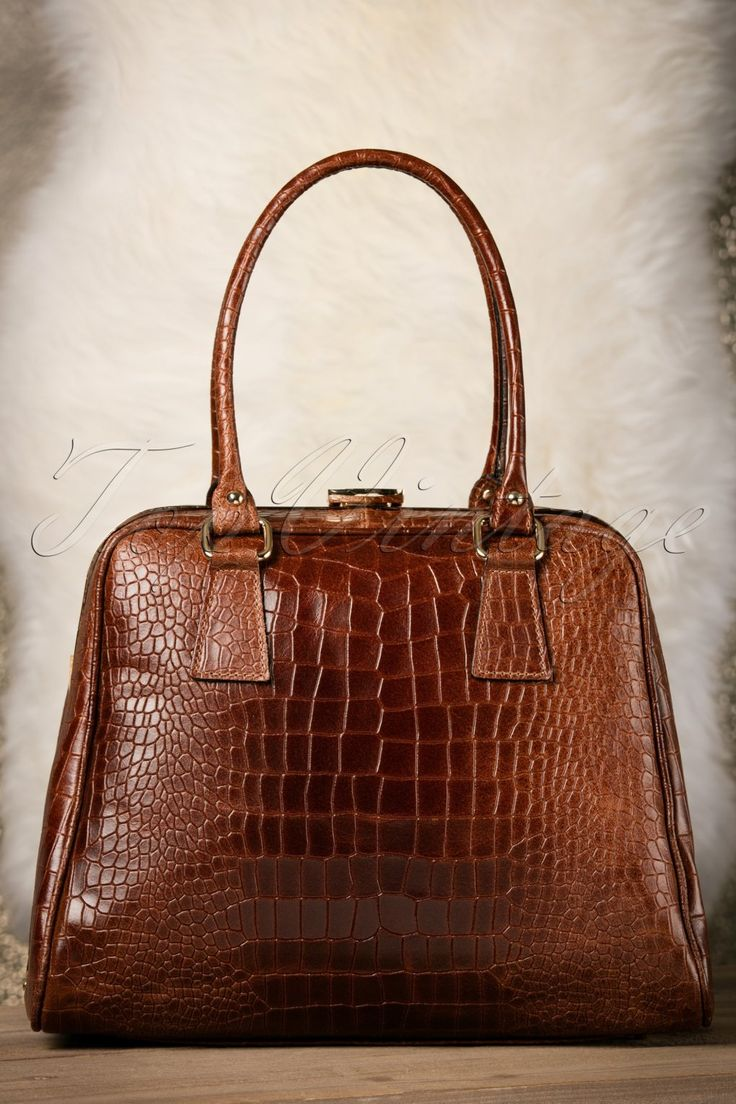 60s Chic Suitcase Croc Handbag in Brown Leather