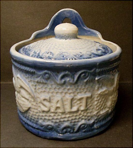 Gorgeous Blue And White Eagle Stoneware Salt Box W/Original Lid~Book Piece-HTF
