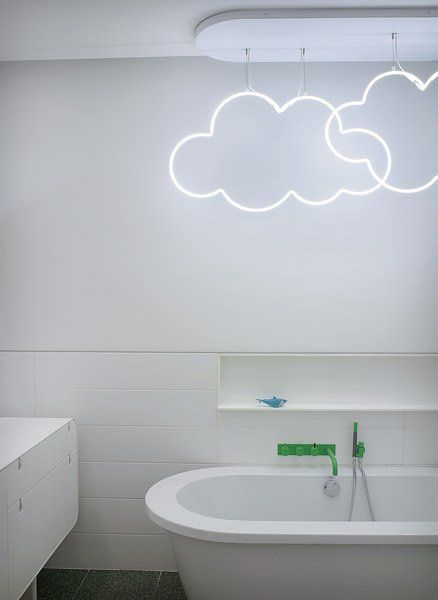 'Cloudy' neon bathroom light... This is cute but idk how comfortable I would be having an ELECTRIC sign above my bath tub...