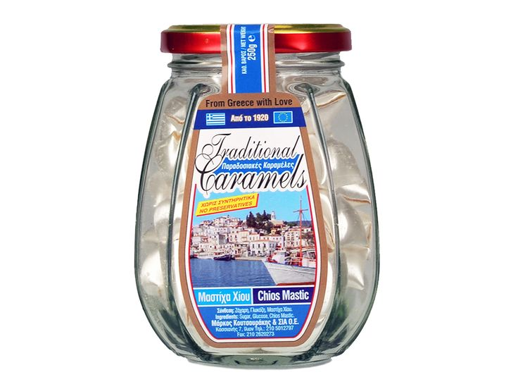 Net weight: 250g(8.8oz) A Chios mastic flavored candy. A nostalgic taste of Greece in the 20's. No preservatives. Ingredients: sugar, glucose and mastic from the island of Chios.